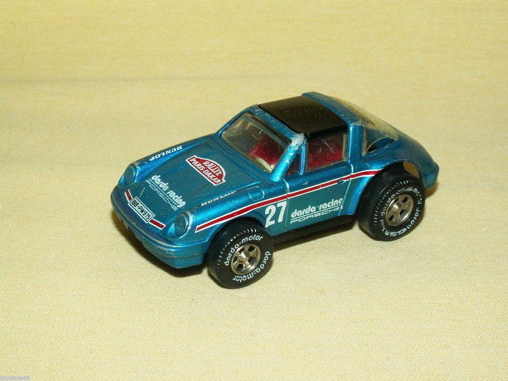 Porsche 27 gs darda racing blue black top motor slot car as is 3 ...