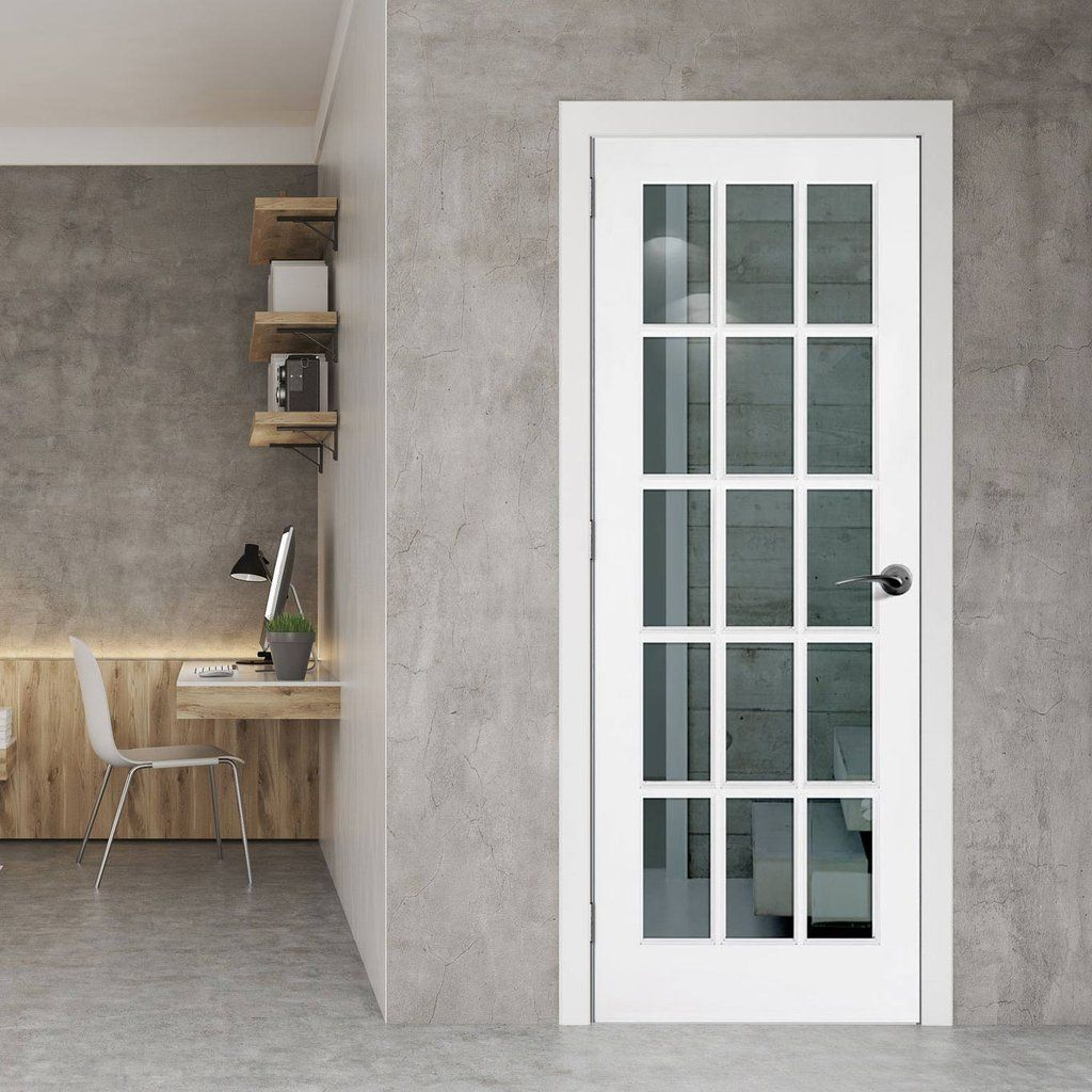 Sa 15l White Primed 15 Pane Door With Clear Safety Glass Entrance