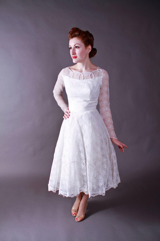 Vintage s wedding dress party length lace cupcake princess