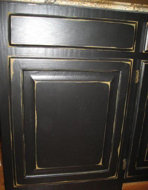 Cabinet Refinishing | Black distressed cabinets, Black ...