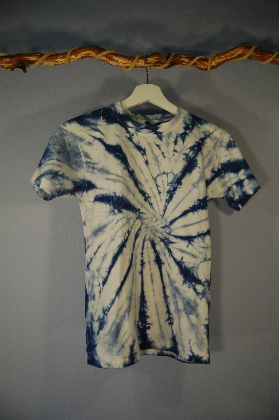 Ähnliche Artikel Wie True Vintage 90er Shirt Batik 140 XS Blau Weiß Boho  Hippie Festival Auf Etsy