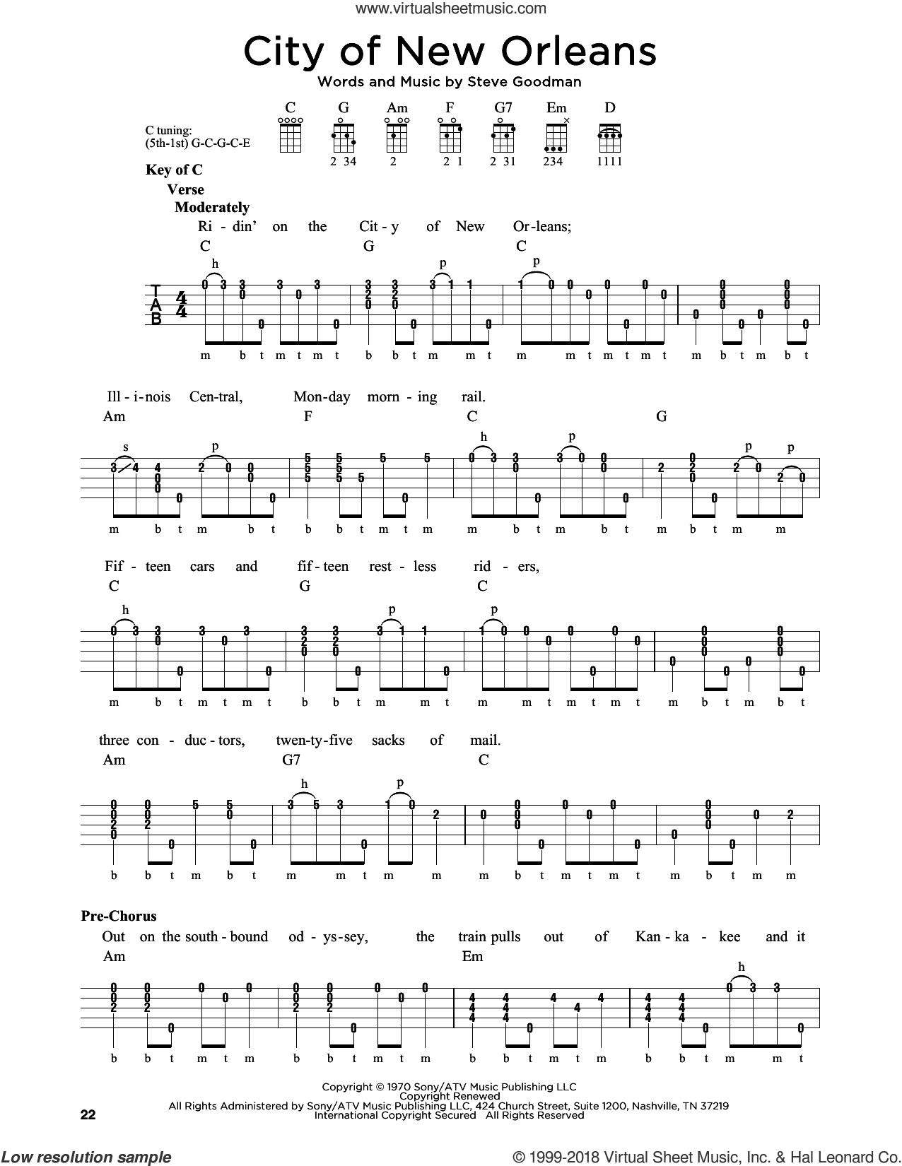 Guthrie City Of New Orleans Sheet Music For Banjo Solo Pdf In 2020 Sheet Music Digital Sheet Music Virtual Sheet Music