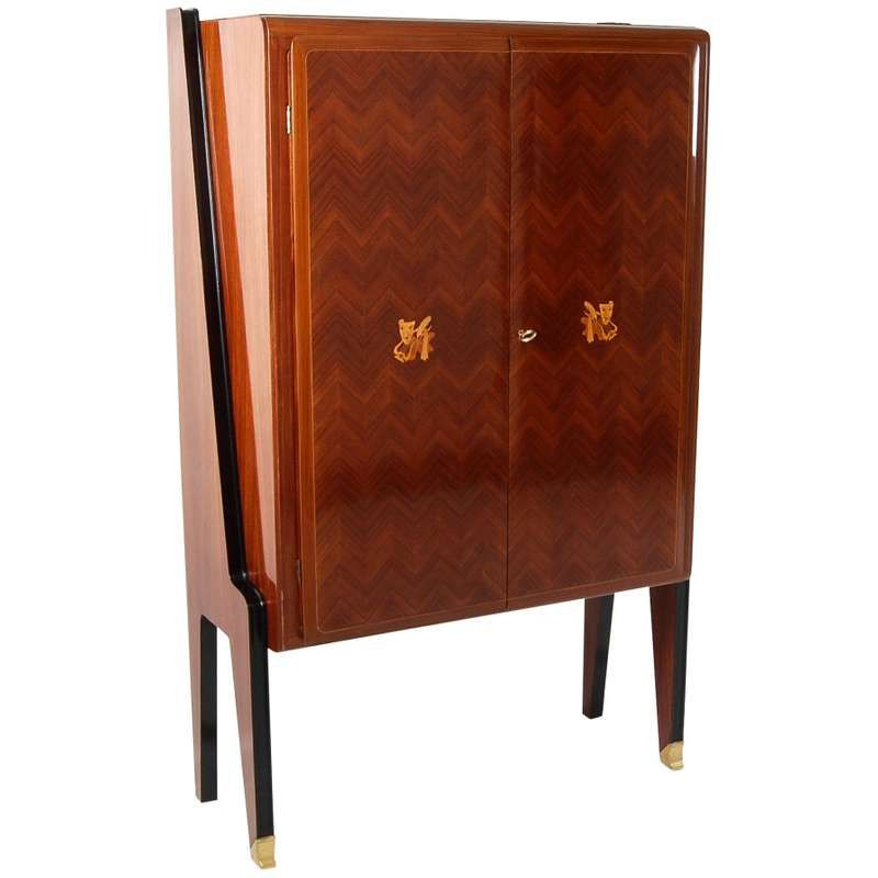 1stdibs Cabinet Early Bar French Art Deco Brass Rosewood