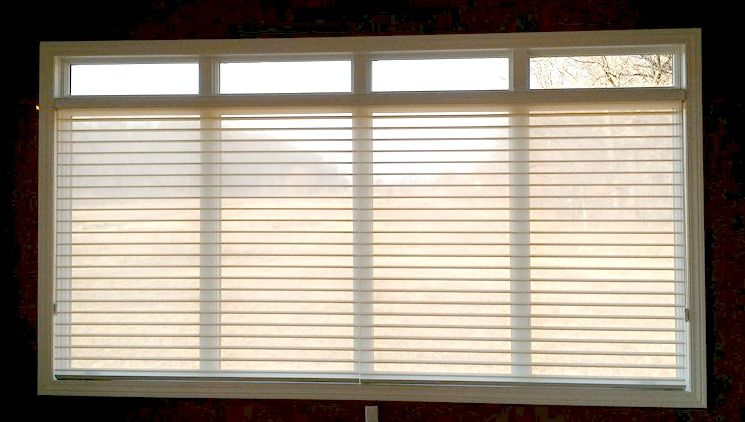 """Window Shadings"" combines the benefits of blinds with the warmth & texture of fabric. And they look great on even large windows. http://www.toledo-window-treatments-windows-blinds-coverings-drapery.com/"