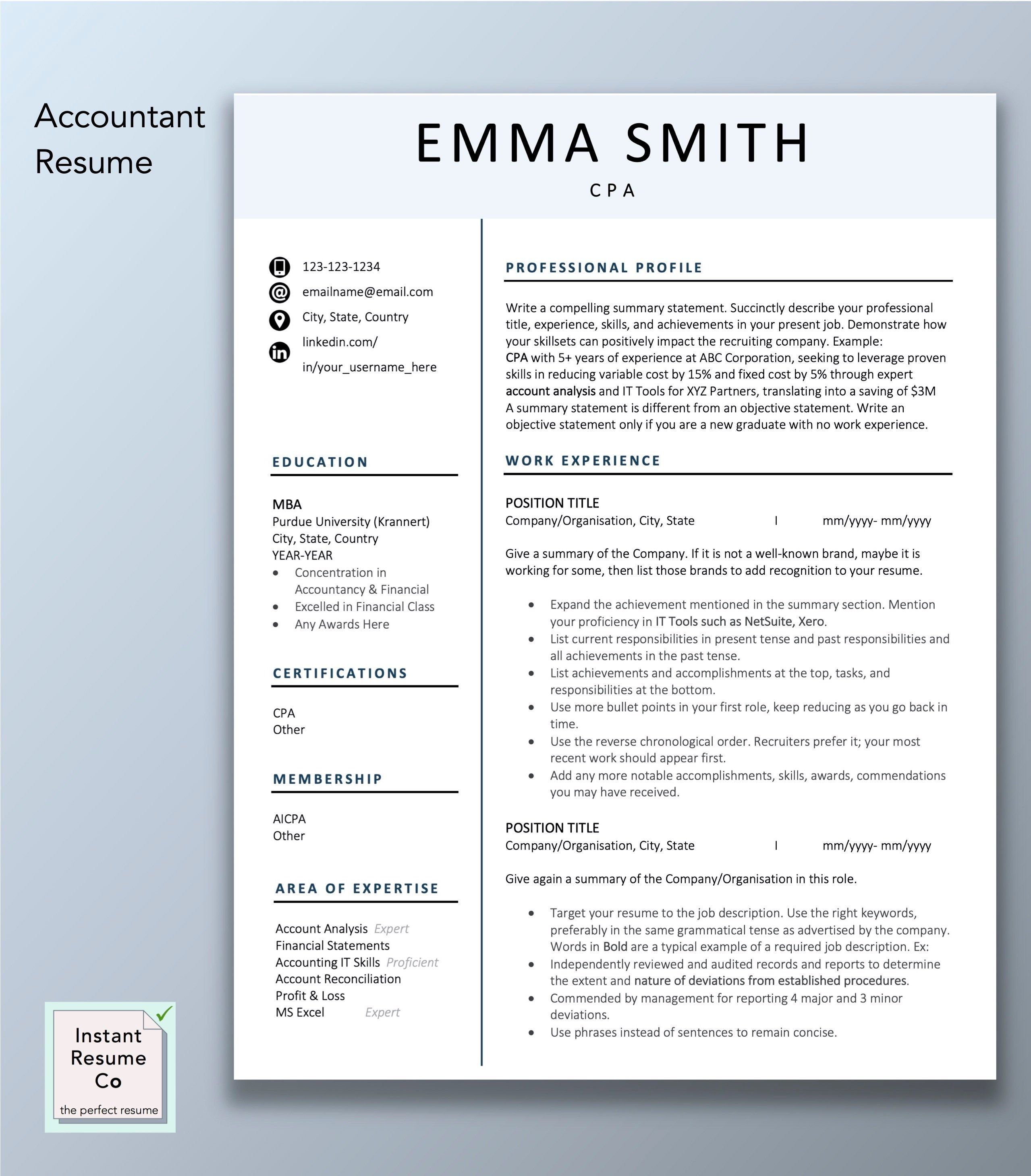 Accountant Resume Cpa Professional Resume Template Creative Etsy Accountant Resume Cv Template Word Resume Resume for accountant in word format