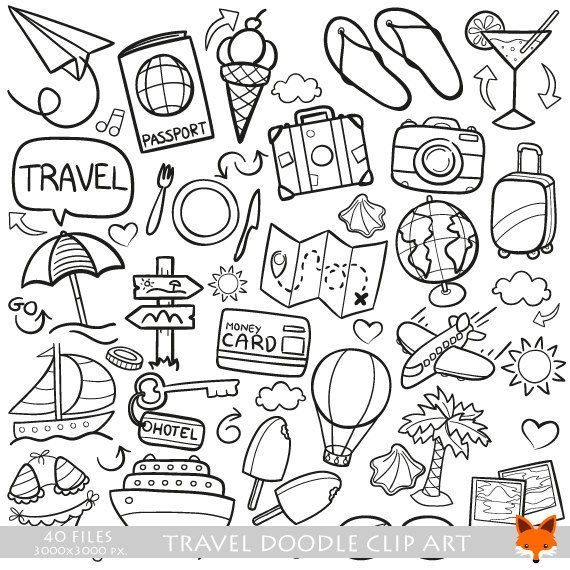 VECTOR EPS Travel Traveling Friends and Family Trip Holidays Summer Doodle Icons Clipart Scrapbook Set Hand Drawn Line Art Scribble Designs #scrapbook