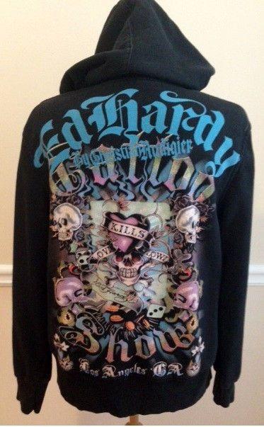 b85533df081b Don Ed Hardy hoodie MEDIUM black skulls Love Kills Slowly Christian Audigier   ChristianAudigier  Hoodie