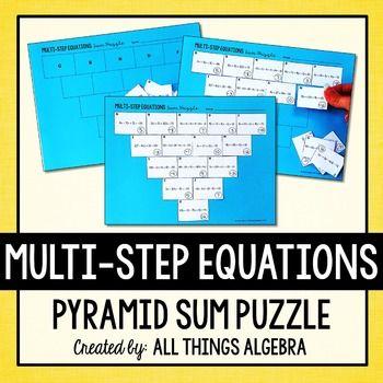 Multi-Step Equations Pyramid Sum Puzzle | Pinterest | Equation, Math ...