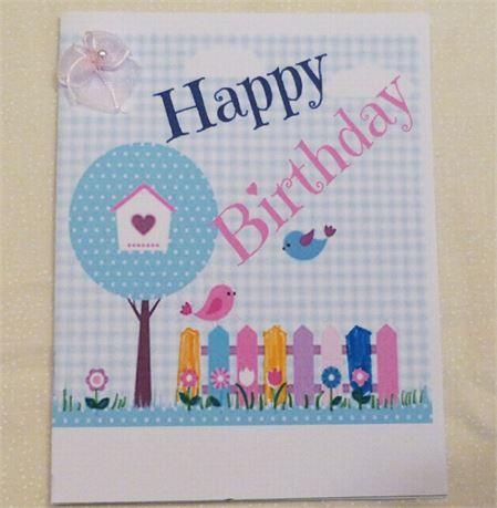 Happy Birthday Birds Handmade Girls Card Made In The Usa This