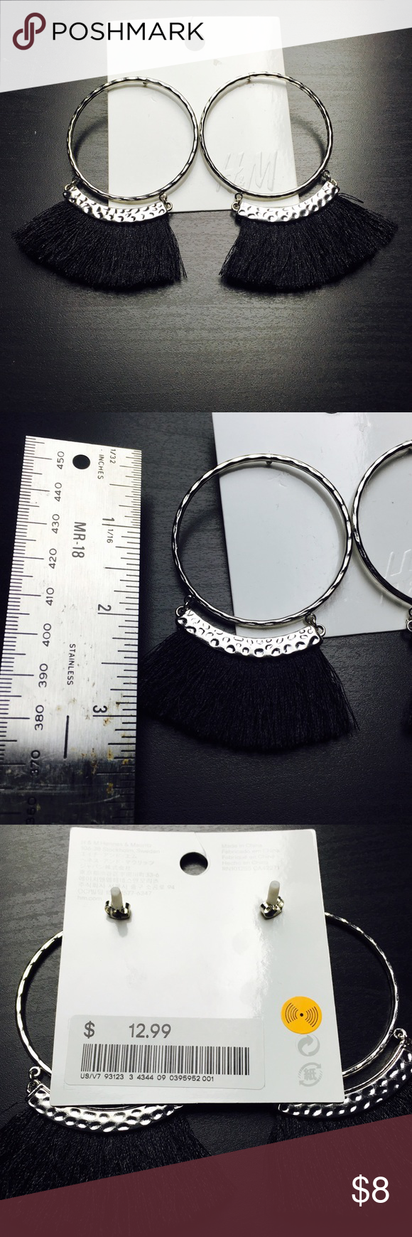 Fun Black Fringe Silver Tone Hoop Post Earrings These are brand new never worn super fun Earrings! Perfect add on to get 20% off your bundle! H&M Jewelry Earrings