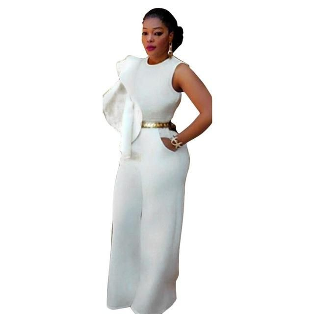 Women Blackwhite Ruffles Details Wide Legs Jumpsuits Fashion Plus