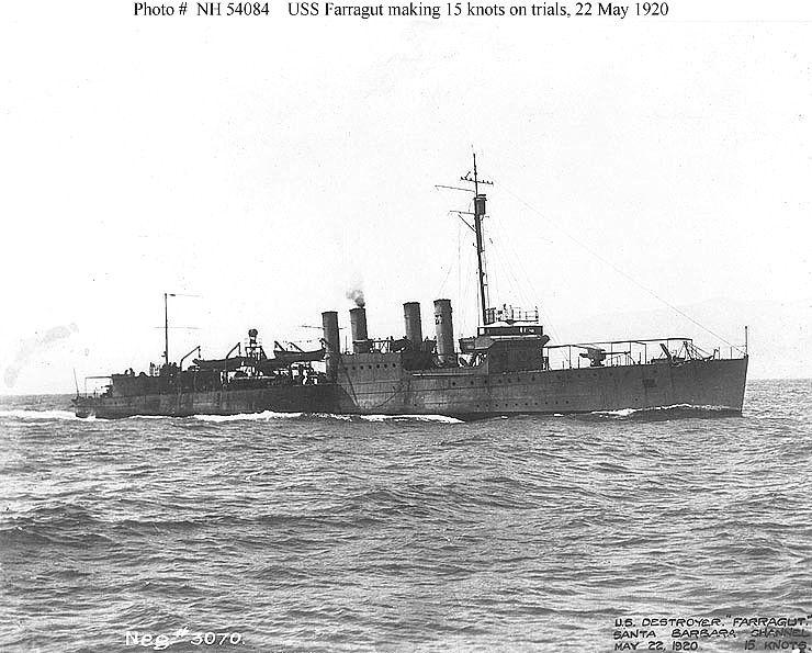 File:USS Farragut (DD-300) rolling in heavy seas, in the