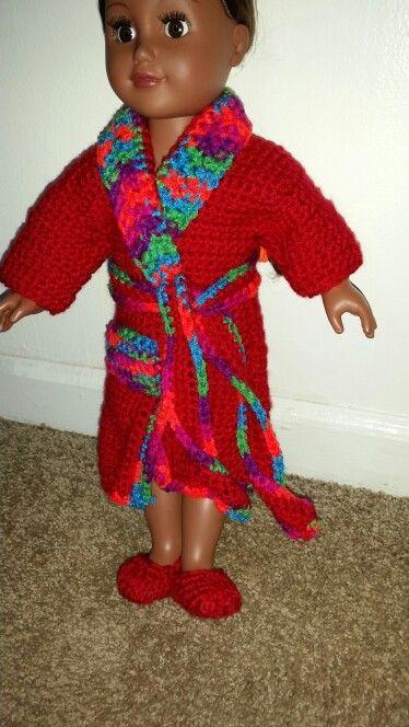 American girl crochet bath robe set