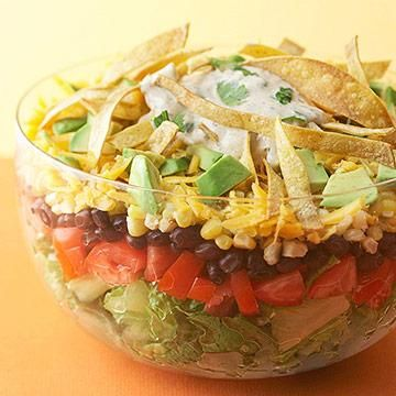 Layered Southwestern Salad with Tortilla Strips and other high fiber recipes