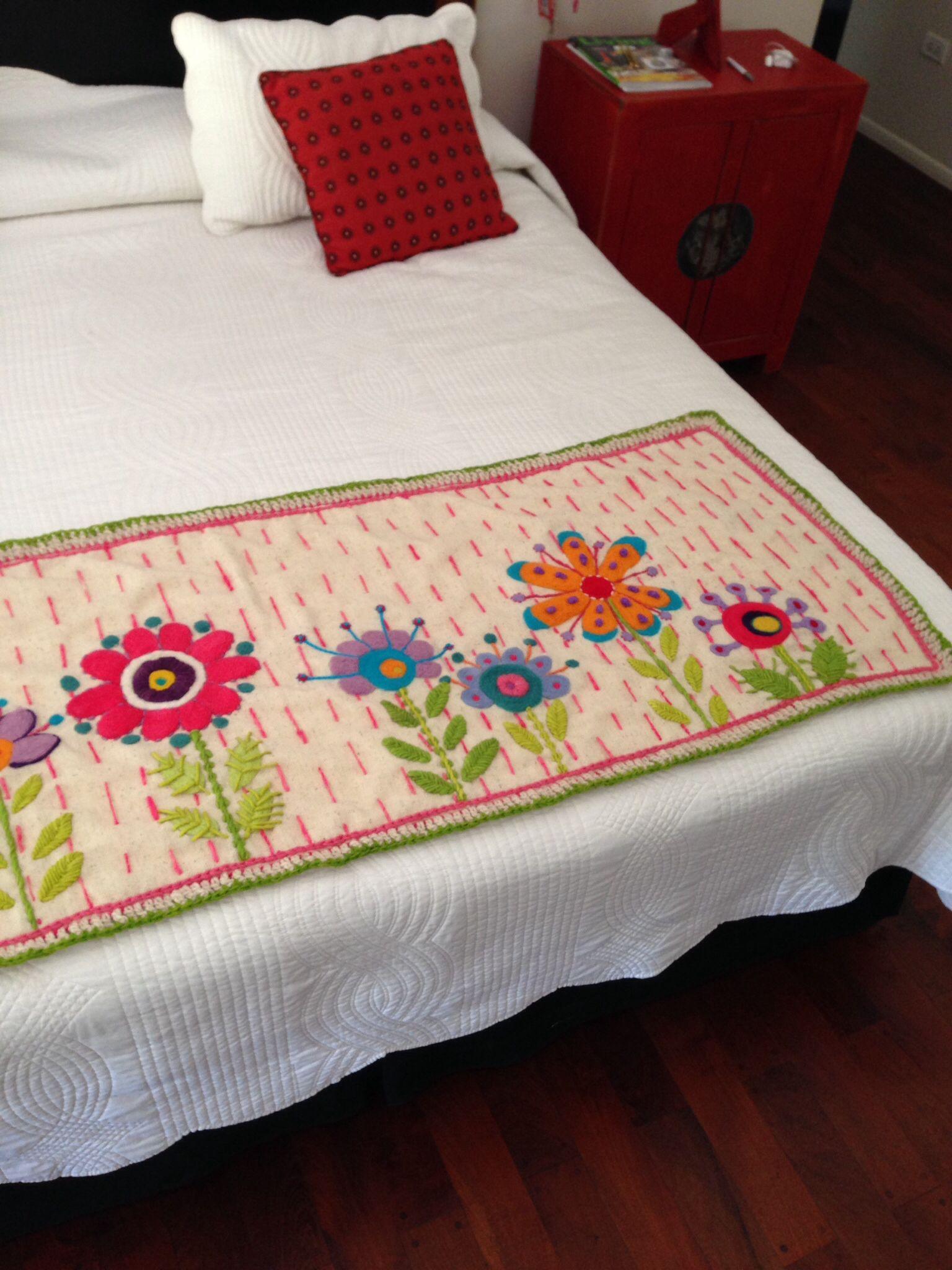 Pie de cama bordado tejidos bordados bed runner bed - Pie de cama ...