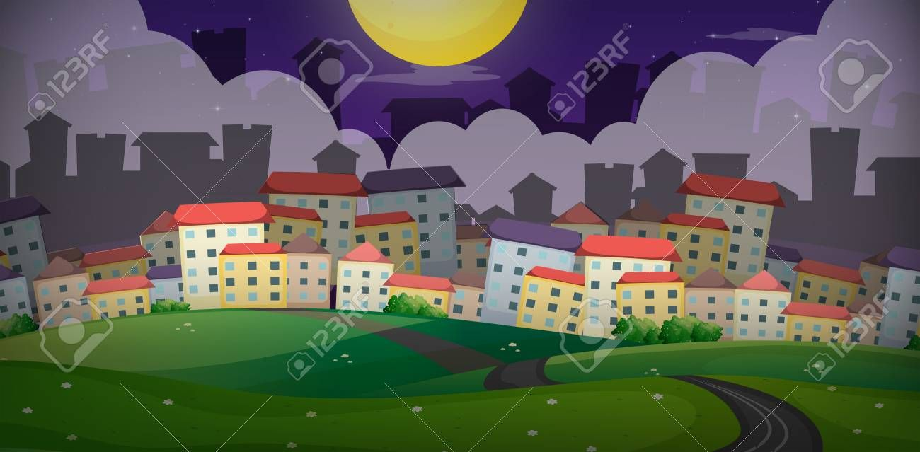 Background Scene With Houses In Village On The Hills Illustration