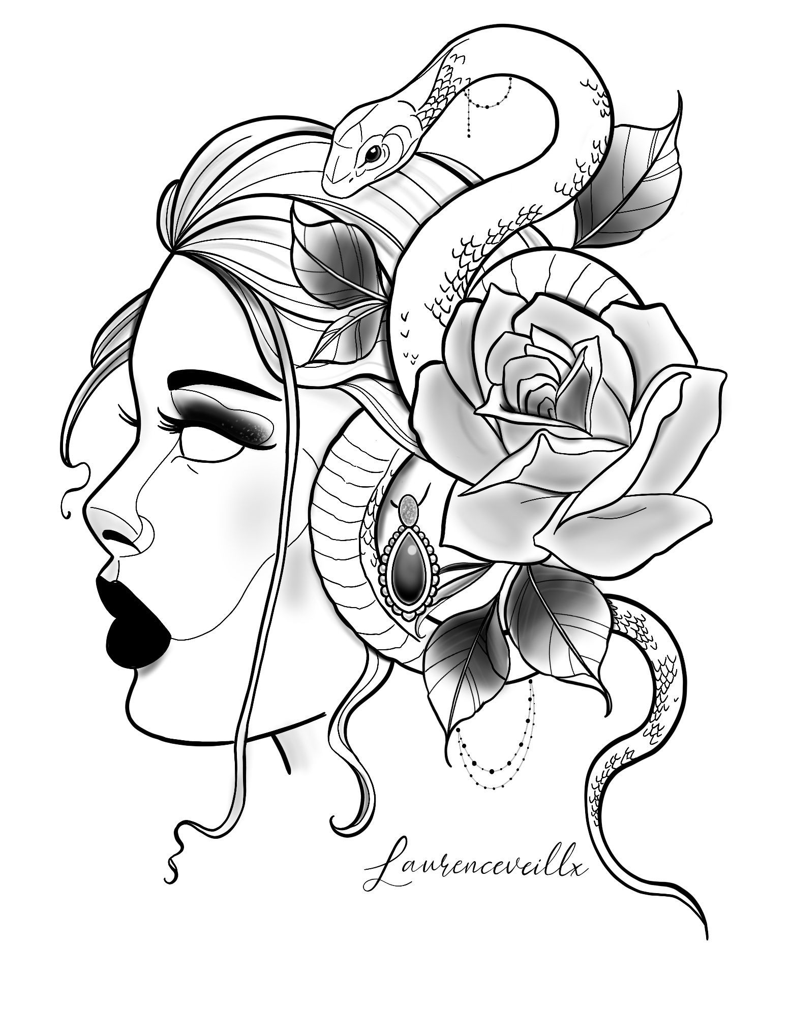 Photo of Lady Snake Rose Printable Tattoo Design Available Instant Download Etsy @laurenceveillx