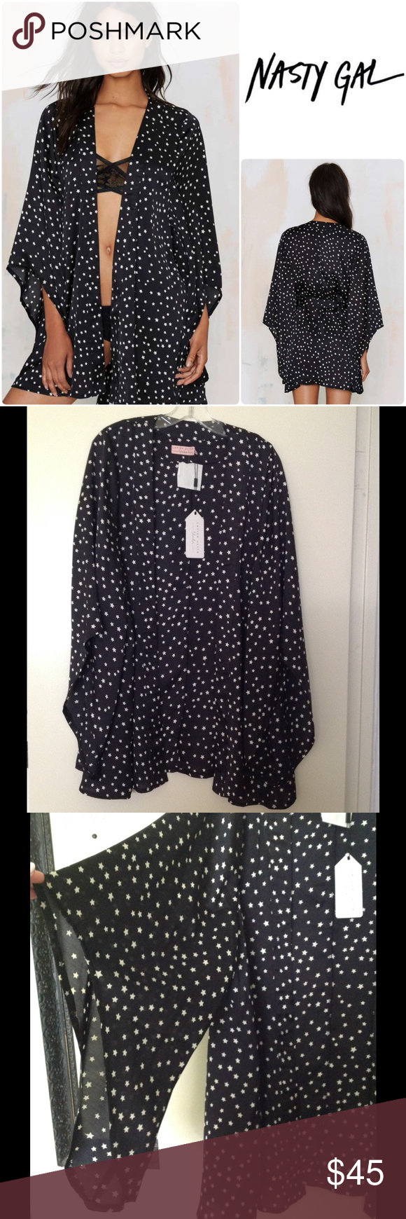 Star print kimono \ S The Sky High Kimono is made in black satin and features star print, draping kimono sleeves. By Lavish Alice. belt sash not included!! *Polyester  *Runs true to size  *Hand wash cold  *Imported Nasty Gal Tops
