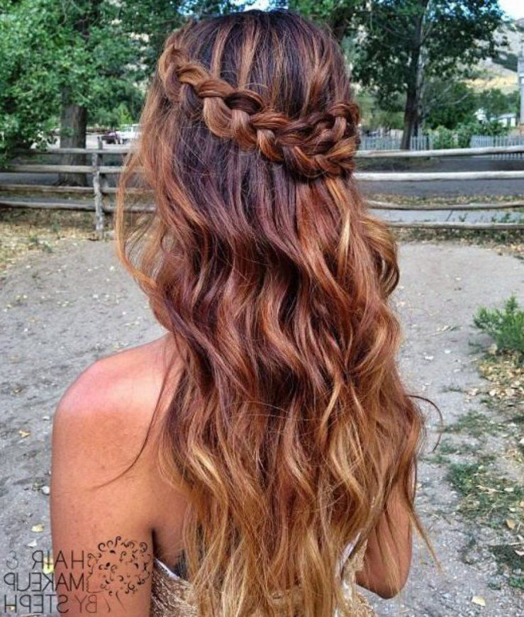 Women Hairstyle Prom Hairstyles Curly Down A Braided Hairstyle Intended For The Most Beautiful Braids Hairstyles Hair Styles Down Hairstyles Long Hair Styles
