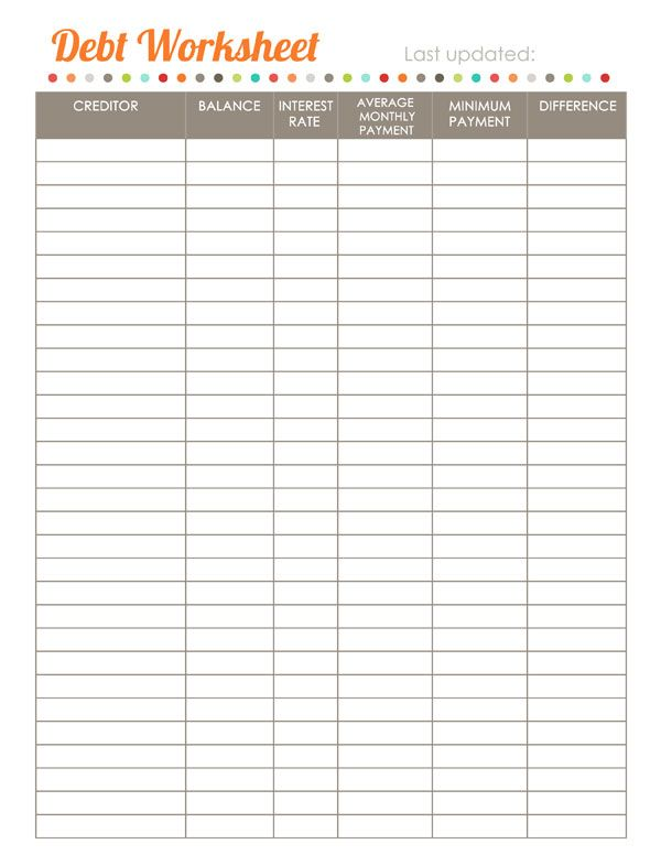 Debt Free Sign Worksheets, Debt and Budgeting