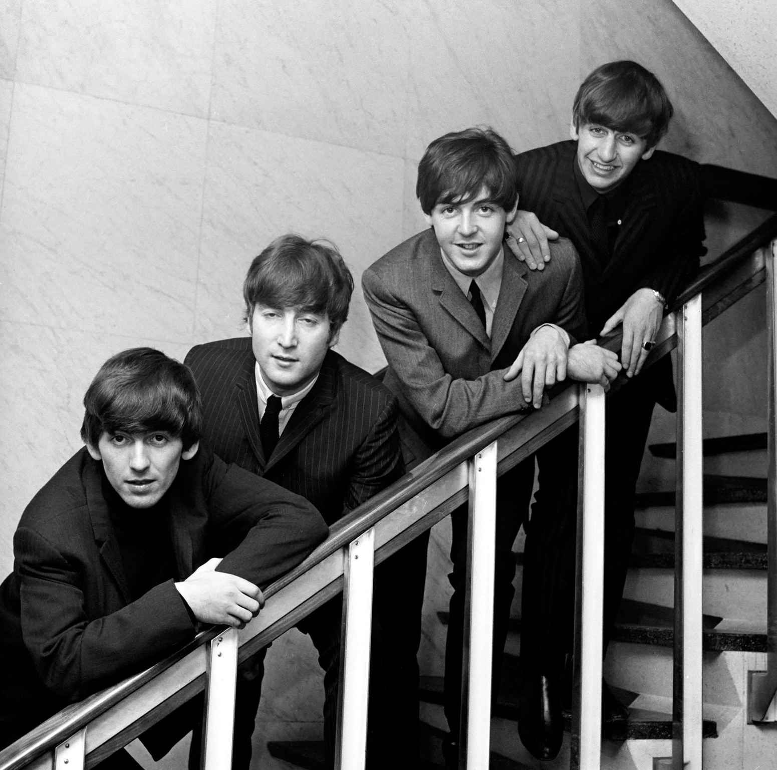 Photo by ITV / Rex Features (515686A) THE BEATLES - GEORGE HARRISON, JOHN…