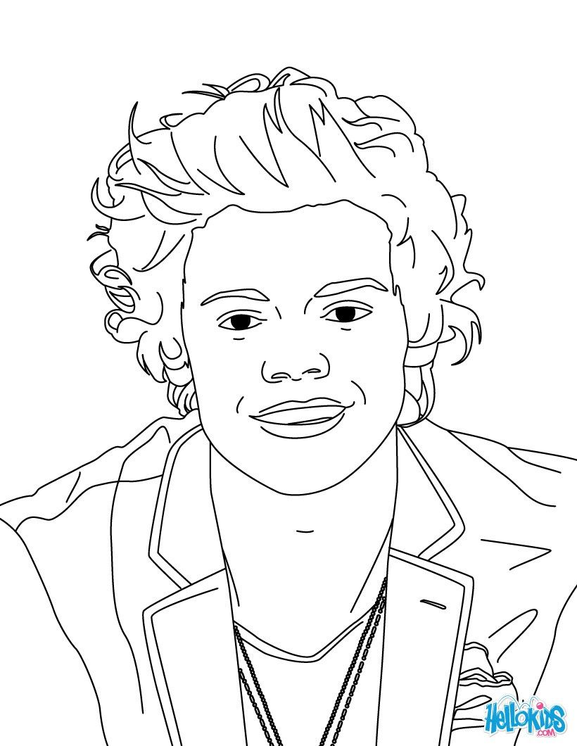 Harry Styles coloring page from One Direction boys band. More One ...