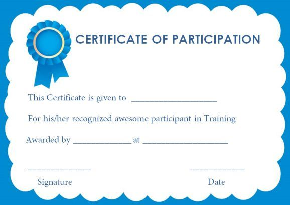 Training Certificate Of Participation Templates training
