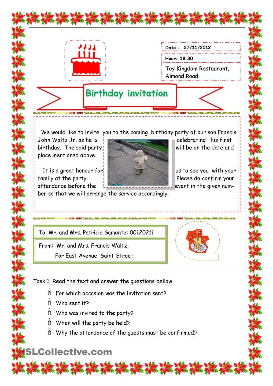 BIRTHDAY INVITATION | ESL 2 | Pinterest | Word order, Worksheets and ...
