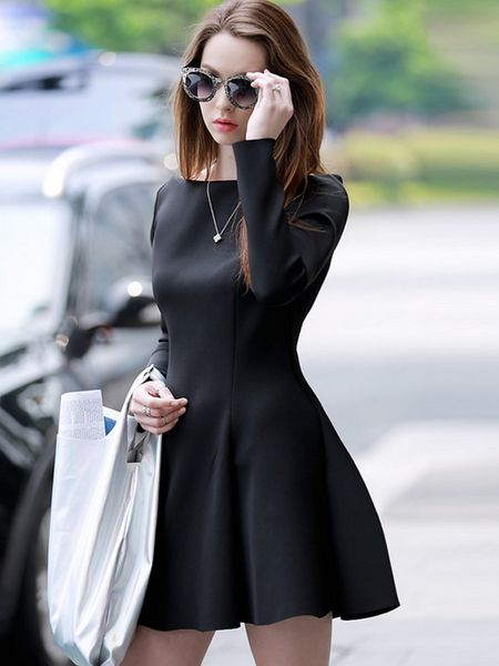 8bcb9568d2 Black Ruffle Slash Neck Long Sleeve Slim Dress