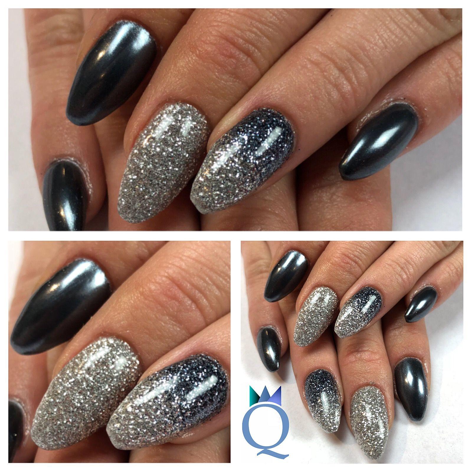 coffinnails #gelnails #nails #silver #anthracite #glitter #chrome ...