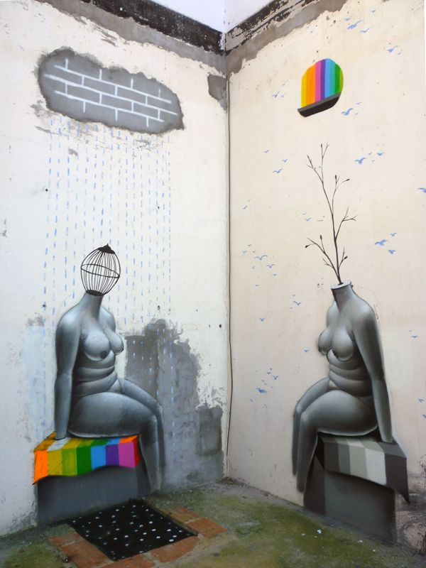 Street Art by OKUDA SAN MIGUEL ( Spain ) - Mirror of cement
