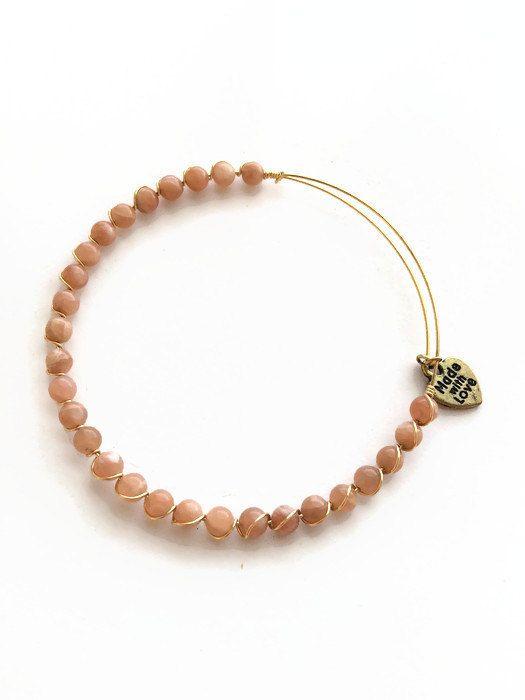 Sunstone Gold Wire Bracelet Semi Precious by JulemiJewelry on Etsy