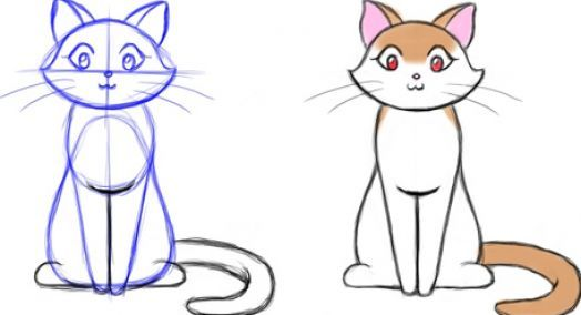 How To Draw A Cat Standing Cat Drawing Animal Drawings Simple Cat Drawing