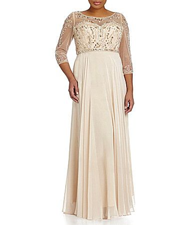 Terani Couture Plus Beaded Sequin Illusion Aline Gown