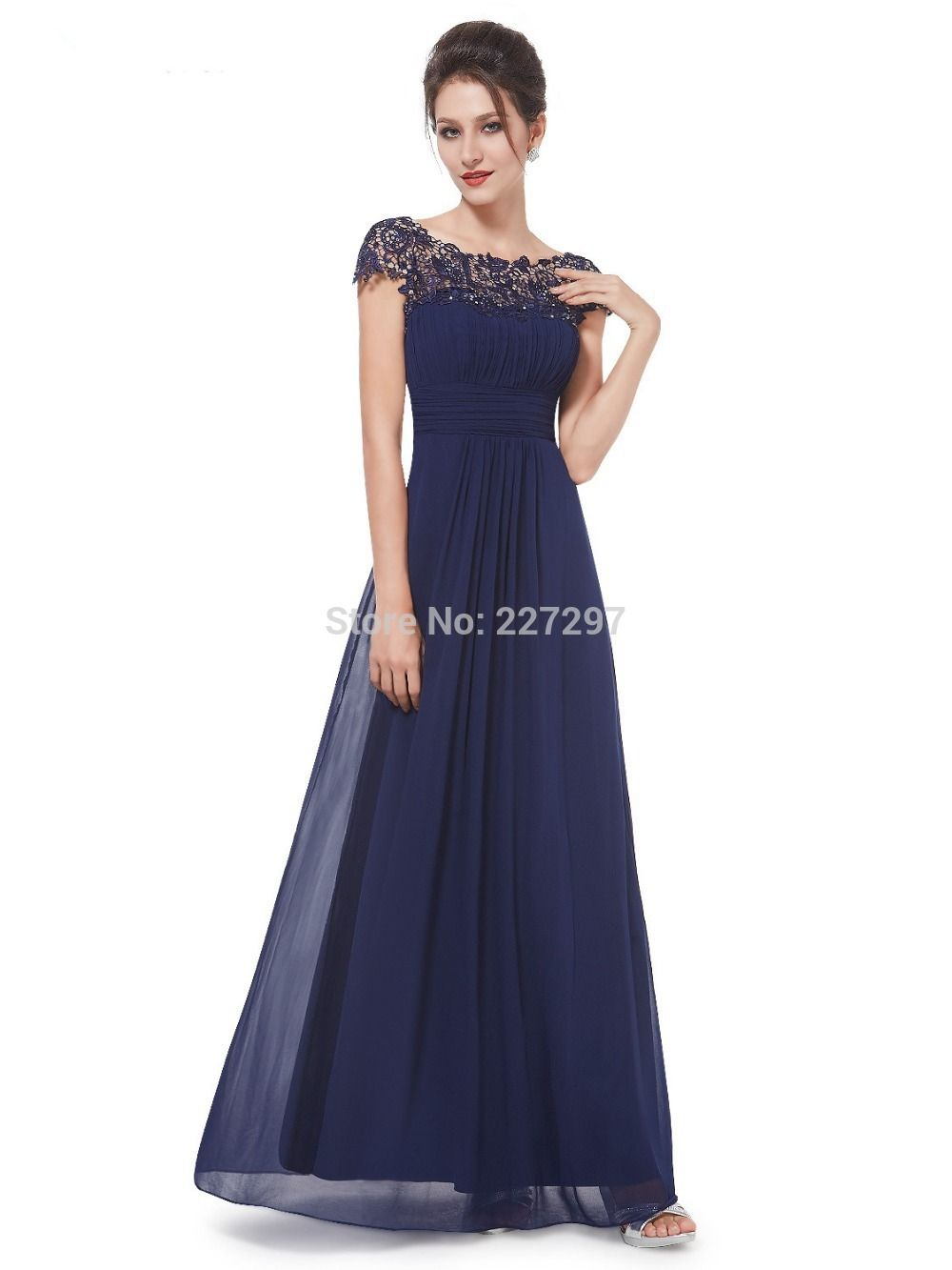 Ever Pretty Women's Lacey Neckline Open Back Ruched Bust Evening Dress Navy  Blue