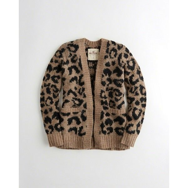 Hollister Leopard Fuzzy Knit Cardigan Found On Polyvore Featuring Polyvore,  Womenu0027s Fashion, Clothing, Tops, Cardigans, Leopard Print, Brown Knit  Cardigan, ...