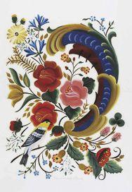 Postcard German Folk Art With Images Folk Art Flowers