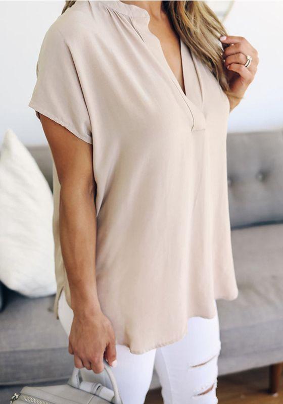 Apricot Plain Cut Out V-neck Short Sleeve Fashion Blouse #chiffonshorts