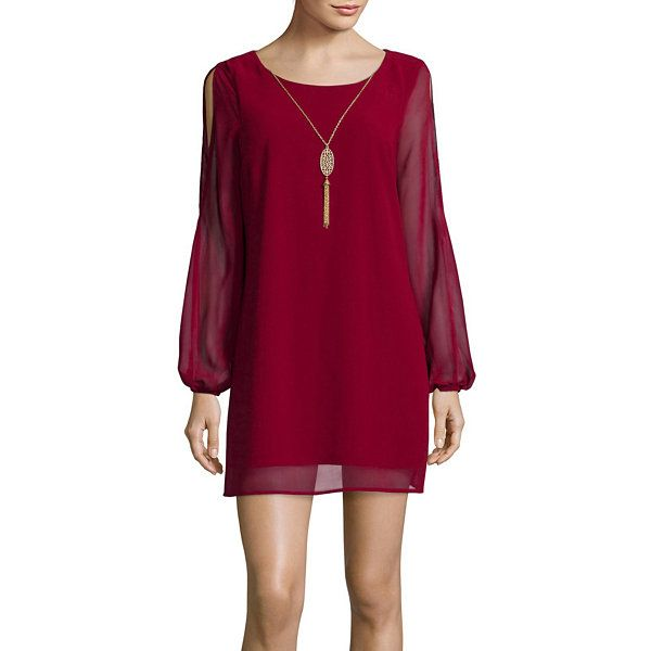 076390cfb0 Love Reigns Long-Sleeve Cold-Shoulder Necklace Dress - JCPenney ...