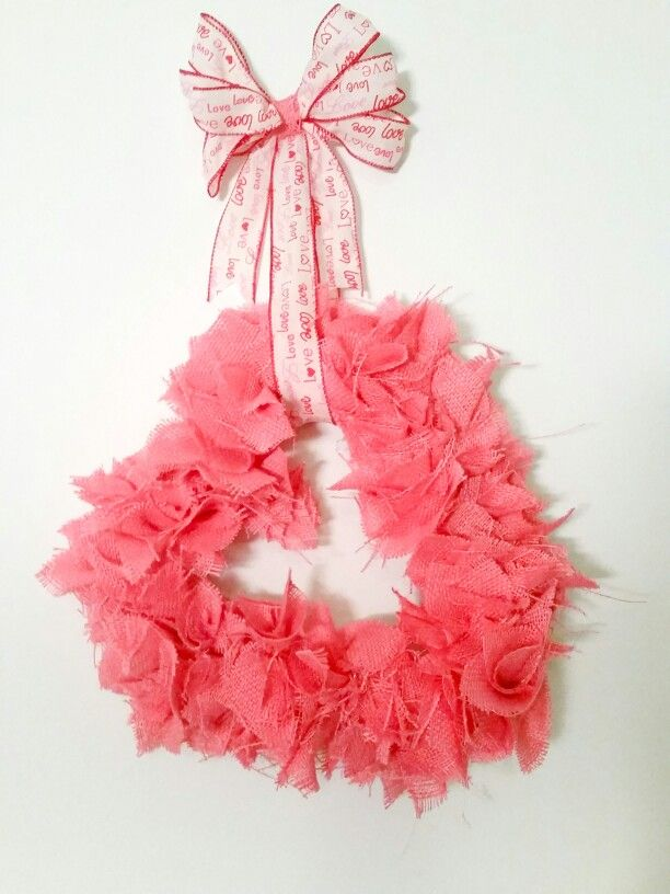 Pink Burlap Heart wreath from Ocala Wreath Co.