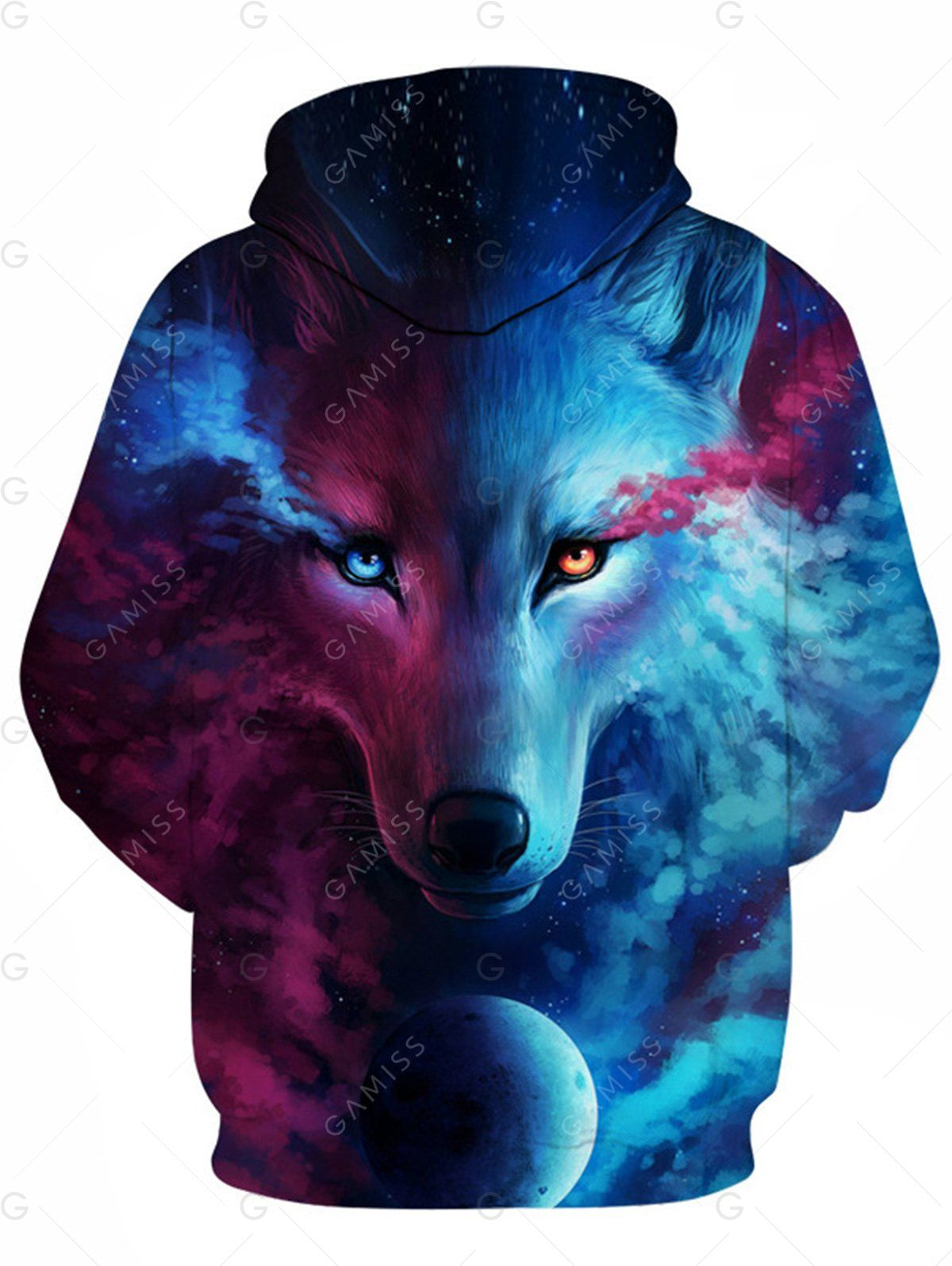 7e09530605e5 3D Trippy Wolf Print Pullover Hoodie - COLORMIX XL
