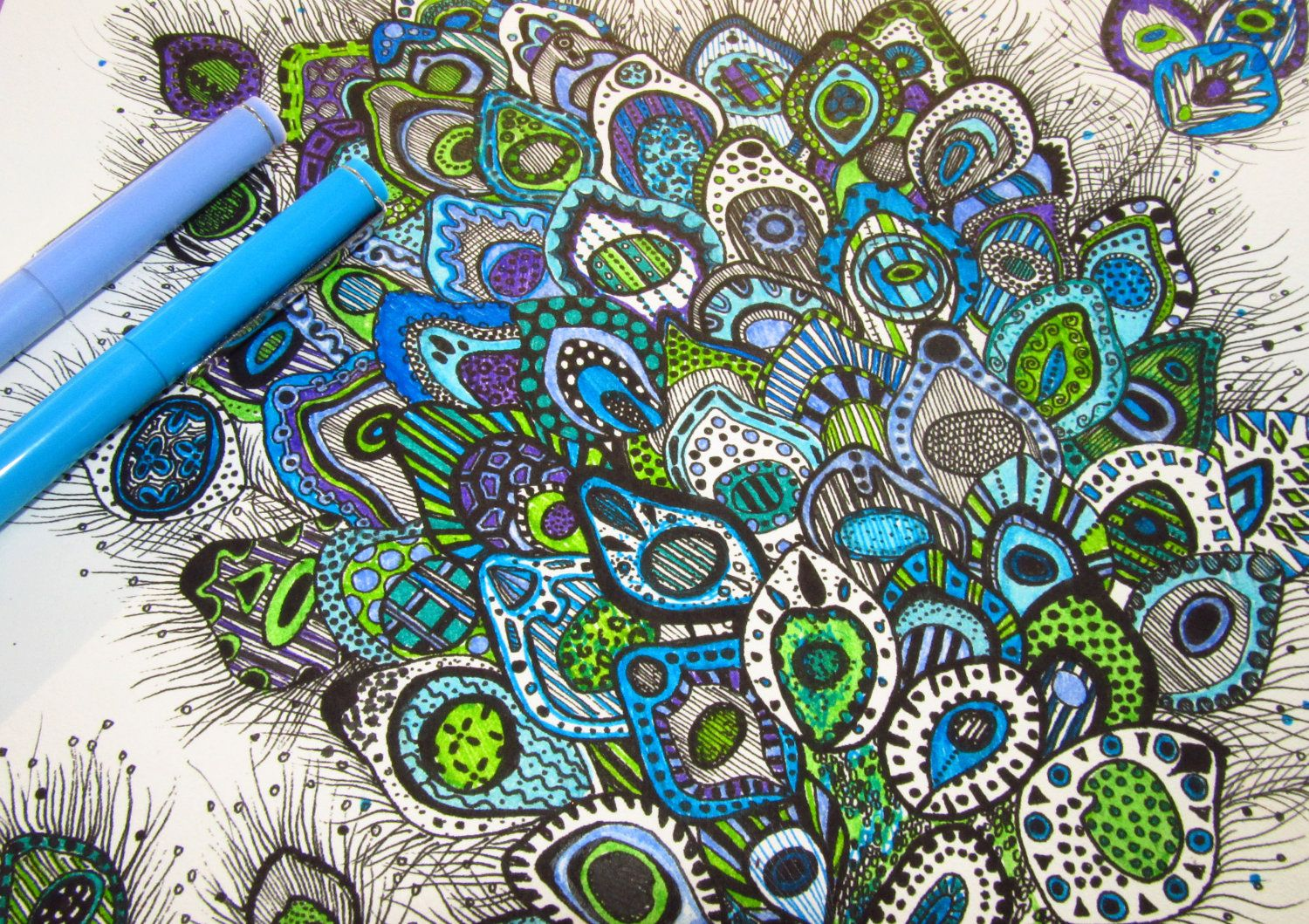 Colorful Peacock Drawing Detailed One of a Kind by ParadoXx Art