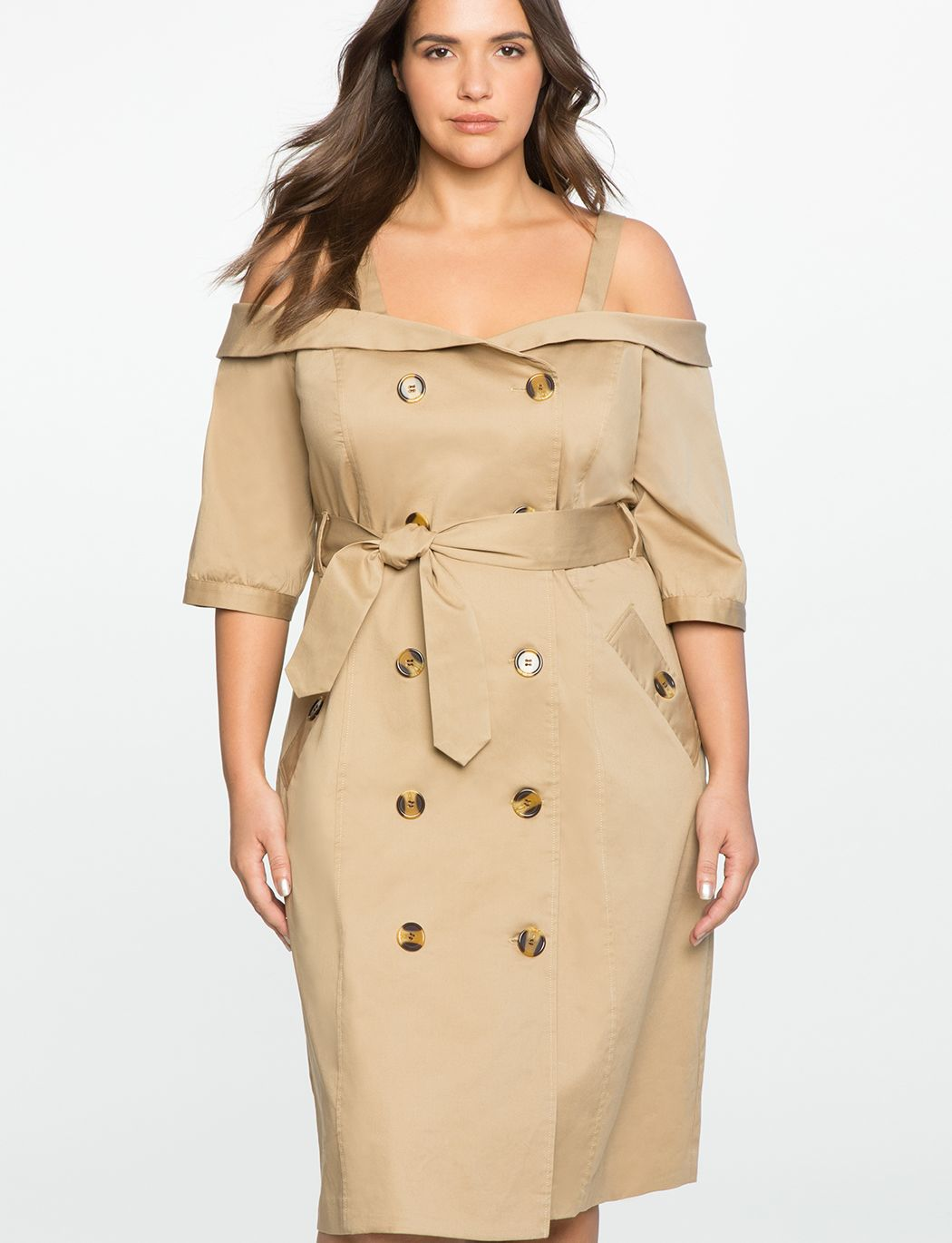 4c0df3a3a00 Studio Off the Shoulder Trench Dress