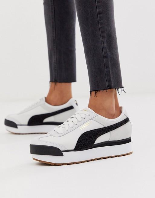 Puma Roma Heritage platform white and black sneakers | ASOS ...