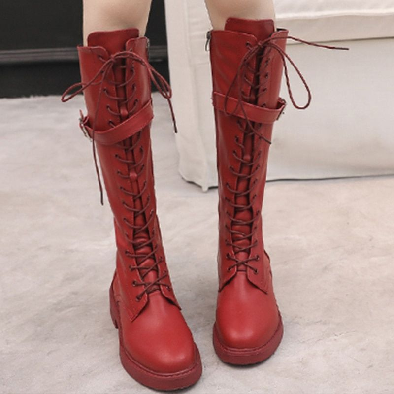 9a4054506e00 Sexy Lace Up Knee High Boots Women Winter Thigh High Boots Leather Red Flat  Casual Shoes