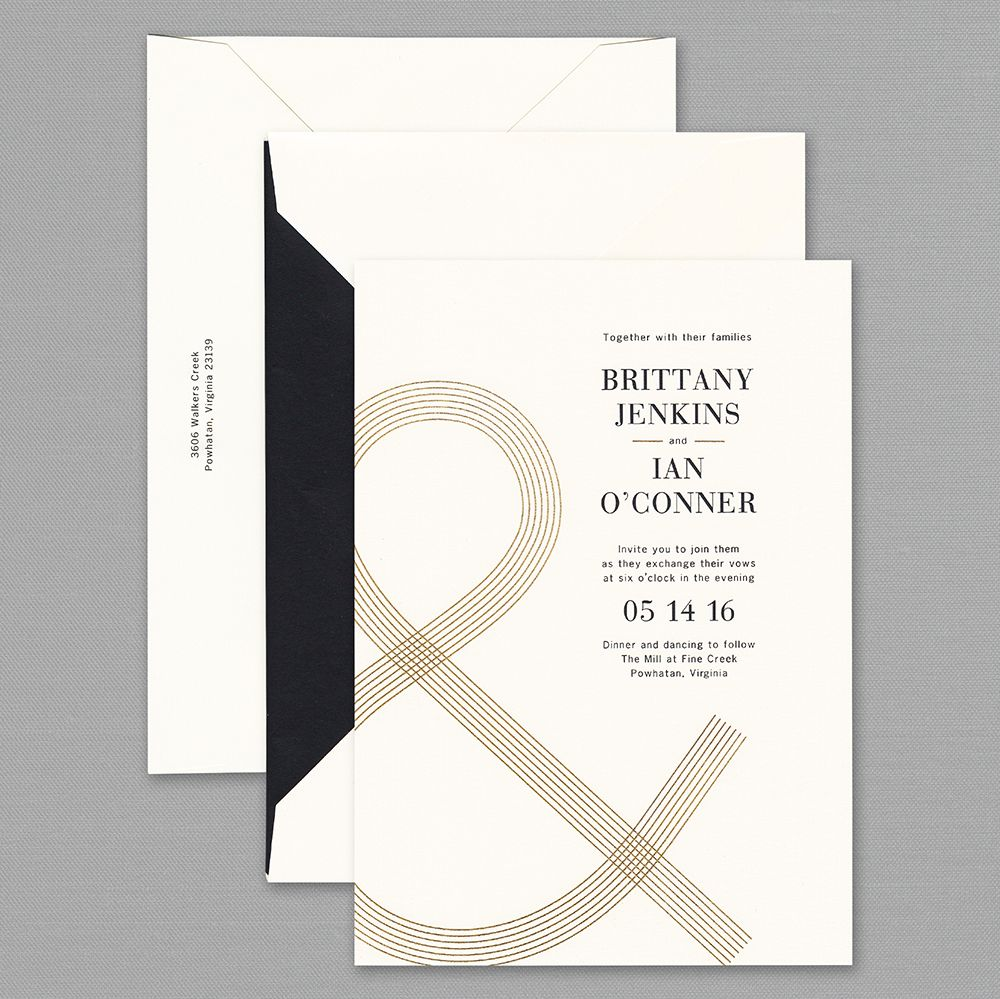 Vera Wang Engraved Oversized Ampersand Wedding Invitation | Creating ...