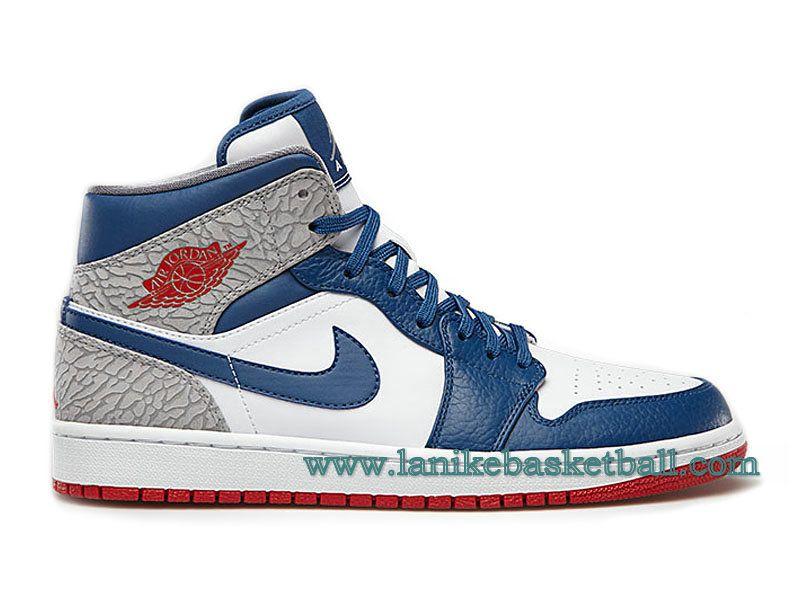 separation shoes d2056 162ec Air Jordan 1 Retro Chaussures Pour Homme Bleu Blanc 554724-107-Boutique La  Nike Basket-Ball,Officiel Nike Chaussures En Ligne!