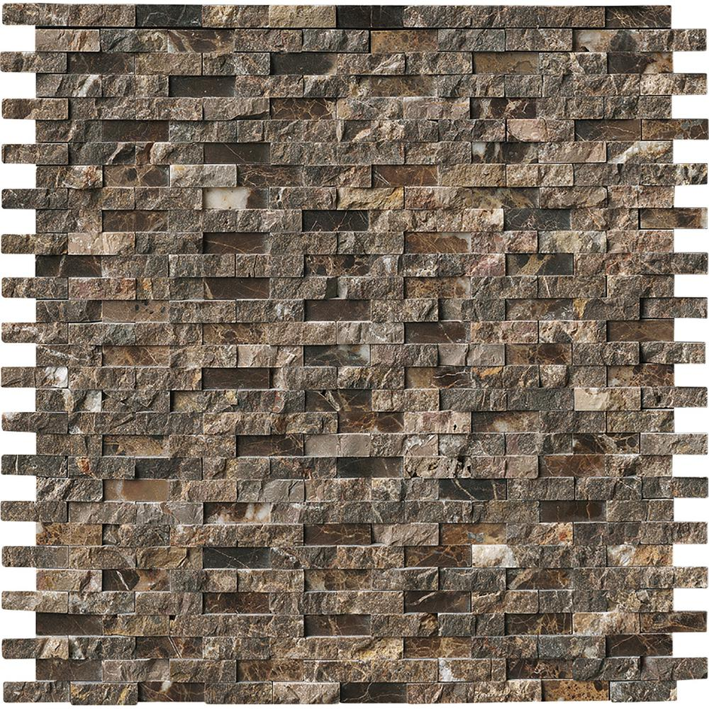 Msi Emperador Split Face 12 In X 12 In X 10mm Polished Marble Mesh Mounted Mosaic Tile 1 Sq Ft Emp Sfil10mm The Home Depot Stone Tile Wall Mosaic Tiles Brick Exterior House