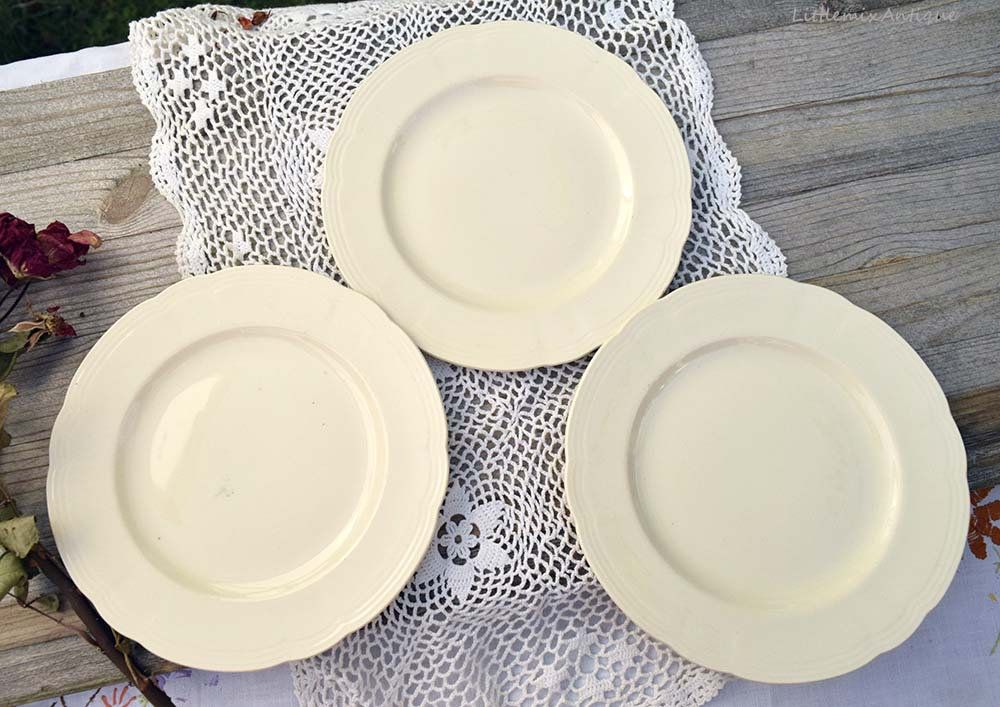 Vintage 1930s Alfred Meakin England China Plain Cream Color 4 Side