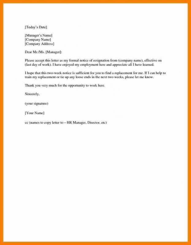 two weeks notice sample template pinterest sample resume